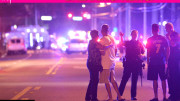 People fleeing the latest Islamic savage attack on a gay club in Orlando Florida