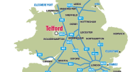 The location in England of the town of Telford.