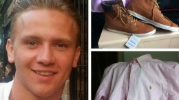 Corrie McKeague and examples of clothes of a similar type that he was wearing when he disappeared. Picture from Cambridge News.