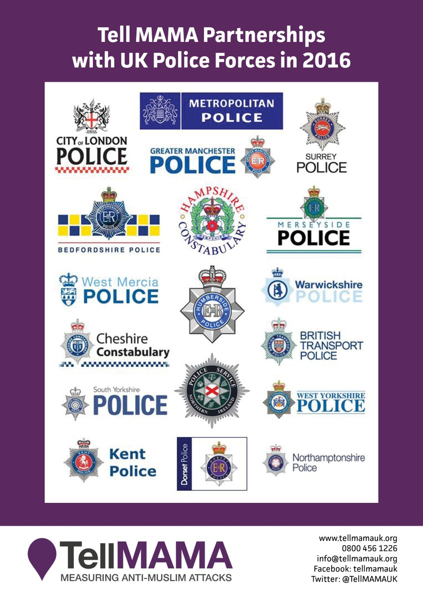 The list of British police forces where the disgraced 'Islamophobia' monitor Tell Mama has undue influence.