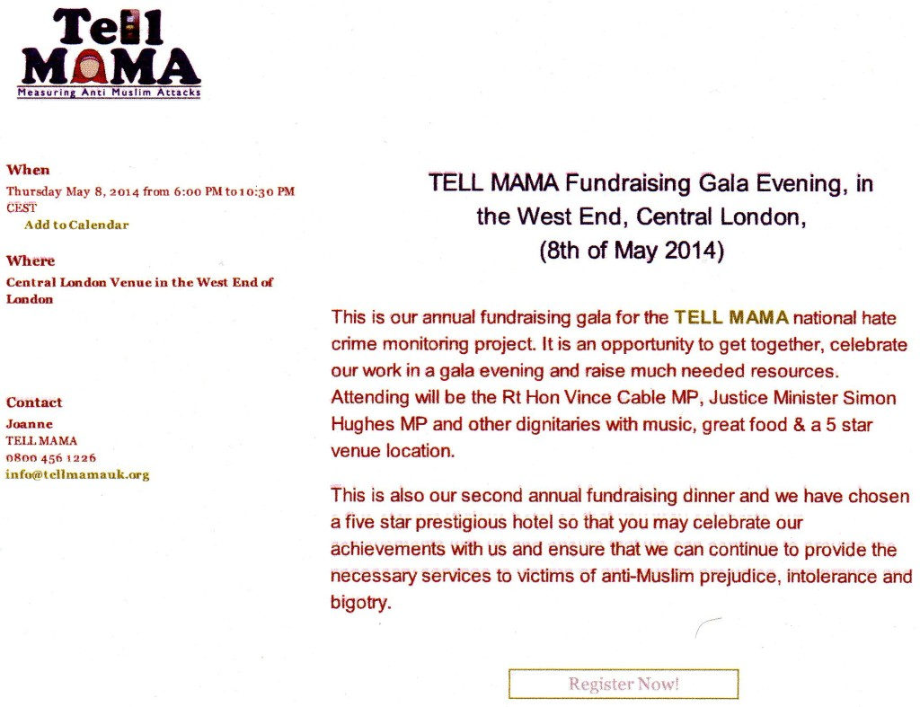 The 'gala fundraising dinner' being organised by Tell Mama which is being attended by senior Lib Dems.