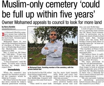 Islamic cemetery story redbridge