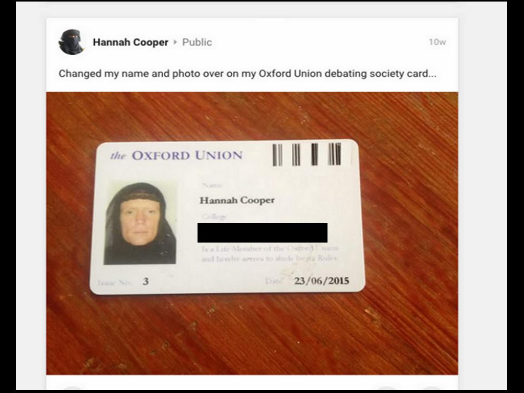Hannah (formerly Steve) Cooper's Oxford Union Debating Society ID card. This blog has redacted the name of the college that Ms Cooper attends on the grounds that identifying her college makes it easier to physically find her.