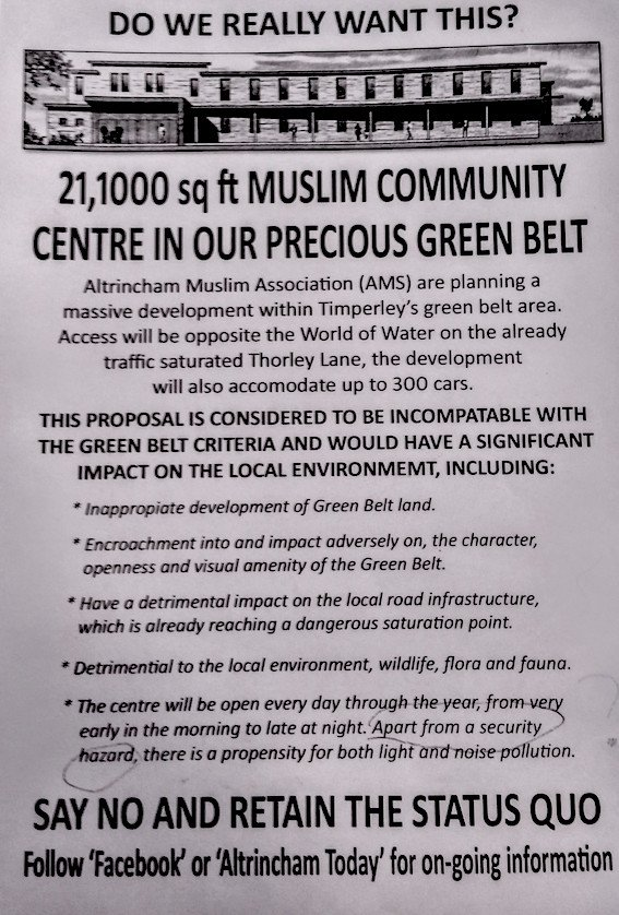 Poster that has been put up by campaigners against the new mosque in Altrincham
